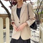 Contrast-trim Linen Blazer
