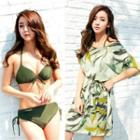 Set: Plain Bikini + Printed Cover-up Dress