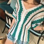 Drawstring-waist Fringed-hem Patterned Knit Top