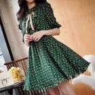 Ruffle Patterned Chiffon Dress