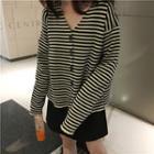 Striped V-neck Loose-fit Cardigan