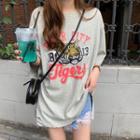 Elbow-sleeve Printed T-shirt / Plaid Shirt