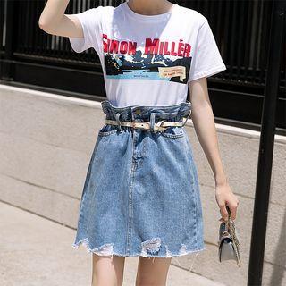 High-waist Ripped Denim Skirt