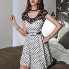 Sleeveless Lace-panel Dotted Dress