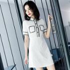 Contrast Trim Short-sleeve Polo A-line Dress