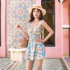 Sleeveless Leaf Print Swim Dress