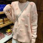 Heart Patterned Long Sleeve Knit Top