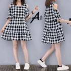 Cold Shoulder Gingham Short-sleeve A-line Dress
