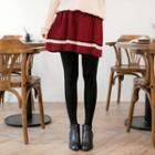 Contrast Stripe Knit Pleated Skirt