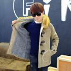 Fleece-lined Hooded Buttoned Coat