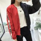 Color Block Lettering Strap Bomber Jacket