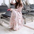 Floral Print Long-sleeve Maxi Chiffon Dress