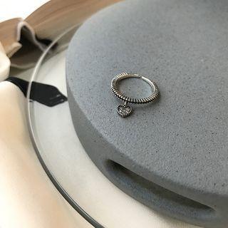 Heart Rhinestone Open Ring K655 - Silver - One Size