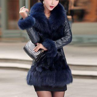 Furry Trim Faux Leather Jacket