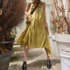 Ruffle Trim Spaghetti Strap Midi Shift Dress / Plain Short-sleeve Shift Dress
