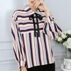Bow Accent Striped Chiffon Blouse