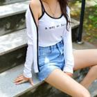 Set: Piped Light Cardigan + Lettering Camisole Top