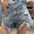 Asymmetric Frayed Hem Ripped Wide-leg Denim Shorts