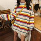 Striped Wave Hem Sweater As Shown In Figure - One Size
