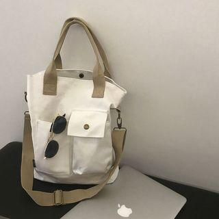 Multi-pocket Canvas Tote Bag Off-white - One Size