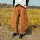 Corduroy Harem Pants Khaki - One Size