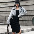 Sleeveless Bodycon Dress / Cropped Buttoned Denim Jacket