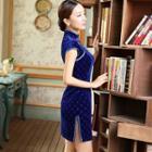 Short-sleeve Velvet Cheongsam