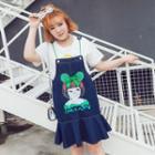 Printed Denim Pinafore Dress