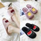 Fruit Applique Fleece-lined Slippers