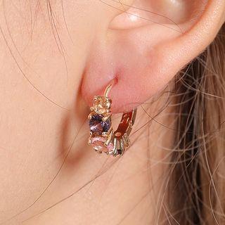 Rhinestone Ring Earring 01-11001 - Gold - One Size