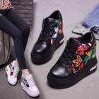 Platform Floral Hidden Wedge Sneakers