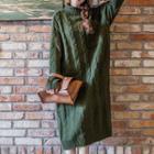 Cable Knit Turtleneck Midi Knit Dress