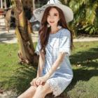 Short-sleeve Lace-trim Striped Dress