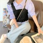 Elbow-sleeve Shirt / Cropped Camisole Top