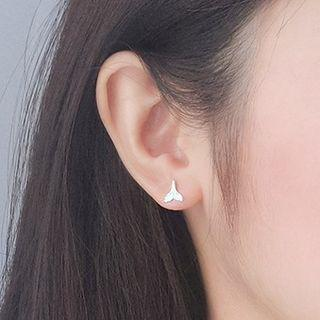 925 Sterling Silver Whale Tail Earring Silver - One Size