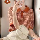 Short Sleeve Pattern Knit Top