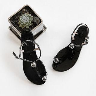 Ball-accent T-strap Flat Sandals