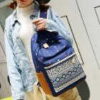 Ethnic-print Canvas Backpack