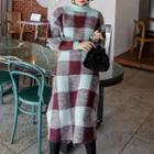 Set: Check Knit Top + Ruffled Skirt