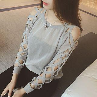 Lattice-sleeve Knit Top