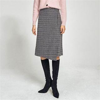 H-line Midi Tweed Skirt