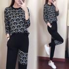 Set: Patterned Sweater + Knit Harem Pants