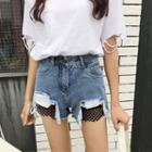 Mesh Distressed Denim Shorts