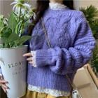Bell-sleeve Lace Top / Cable-knit Sweater