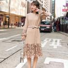 Panel-trim Tweed Midi Dress