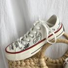 Lettering Canvas Lace-up Sneakers