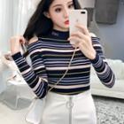 Cold Shoulder Striped Knit Top