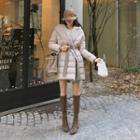 Knit Hooded Padded Coat With Sash