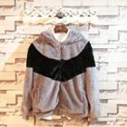 Hooded Color-block Furry Jacket