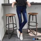 Brushed Style Denim Slim-fit Pants